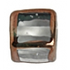 Glass Lamp Bead Cubes 13mm Crystal/Bronze
